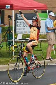 Spencer Petrove nailing the win at Ohio Junior Cycling Criterium Championships. Uploaded by Coach O'B