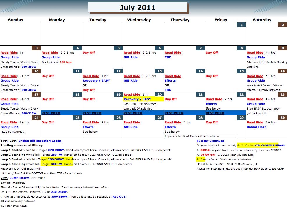 Custom training calendar cycling coach